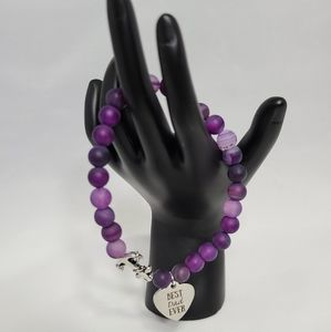 Other - Purple Best Dad Ever Charm Bracelet